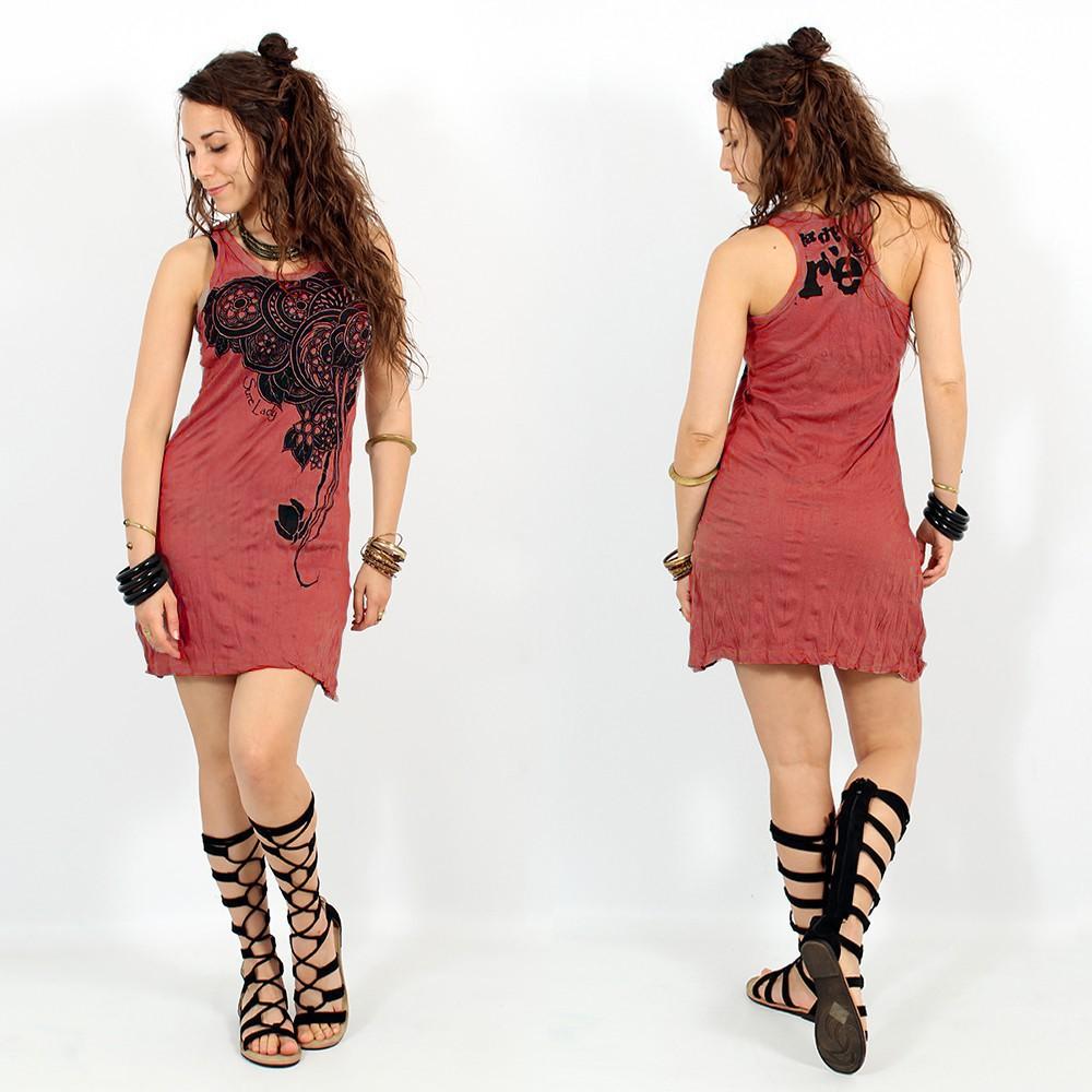 \\\'\\\'Flower\\\'\\\' dress, Dark red