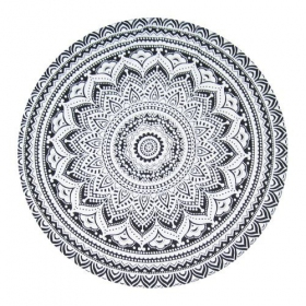\\\'\\\'Flower Mandala\\\'\\\' roundie hanging, Black and White