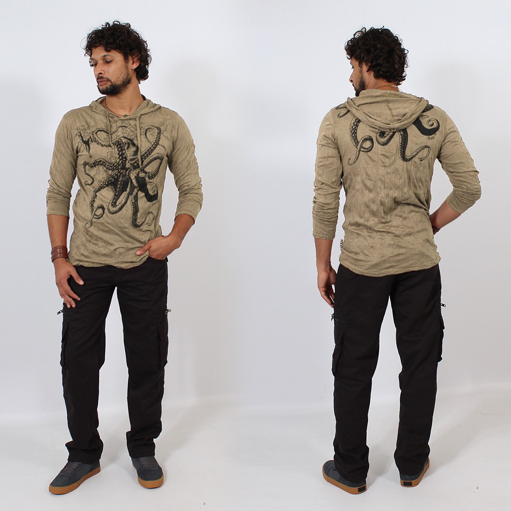 \\\'\\\'Octopus\\\'\\\' hooded t-shirt, Light brown