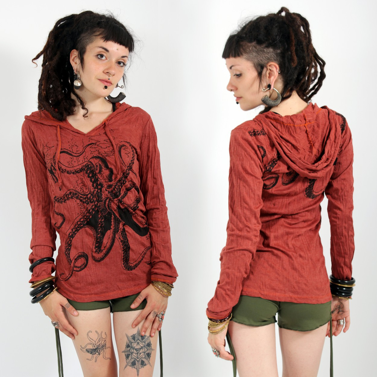 \\\'\\\'Octopus\\\'\\\' hooded top, Dark red