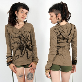 \\\'\\\'Octopus\\\'\\\' hooded top, Light brown