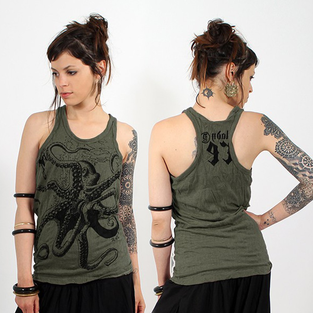 \\\'\\\'Octopus\\\'\\\' tank top, Khaki