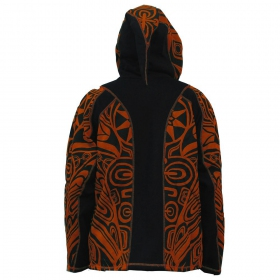 "Chaqueta con capucha puntiaguda ""Skywalker Haida"", naranja y negra"