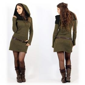 """Vestido suéter """"Mantra"""", Verde caqui y negro"""