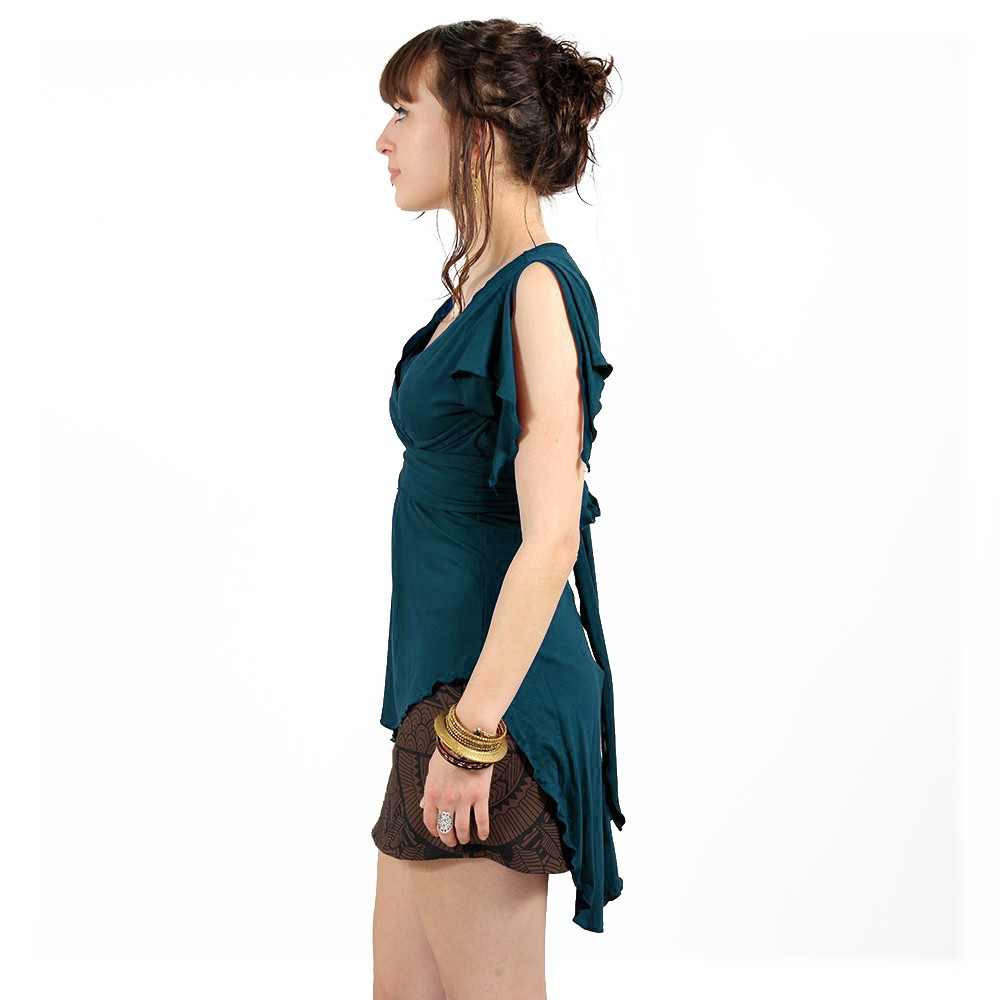 "Top túnica ""Chainat"", Azul petróleo"