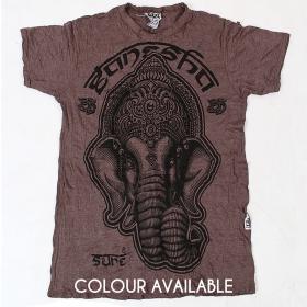 "Camiseta ""Ganesh face"", Gris topo"