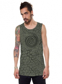 "Camiseta sin mangas ""All over Serpent"", Verde caqui"