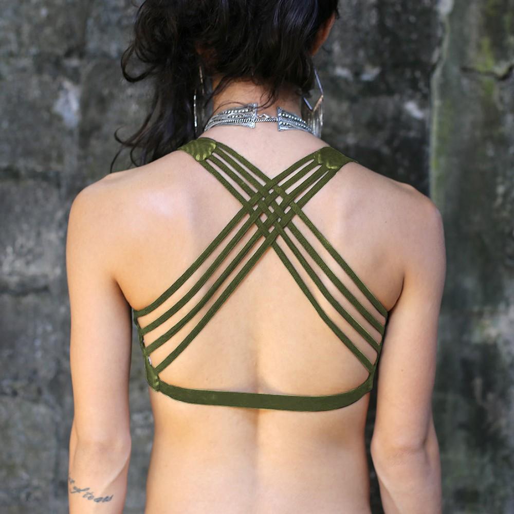 "Sujetador ""CrissCross yoga"", Verde caqui con Hypnotik impreso"
