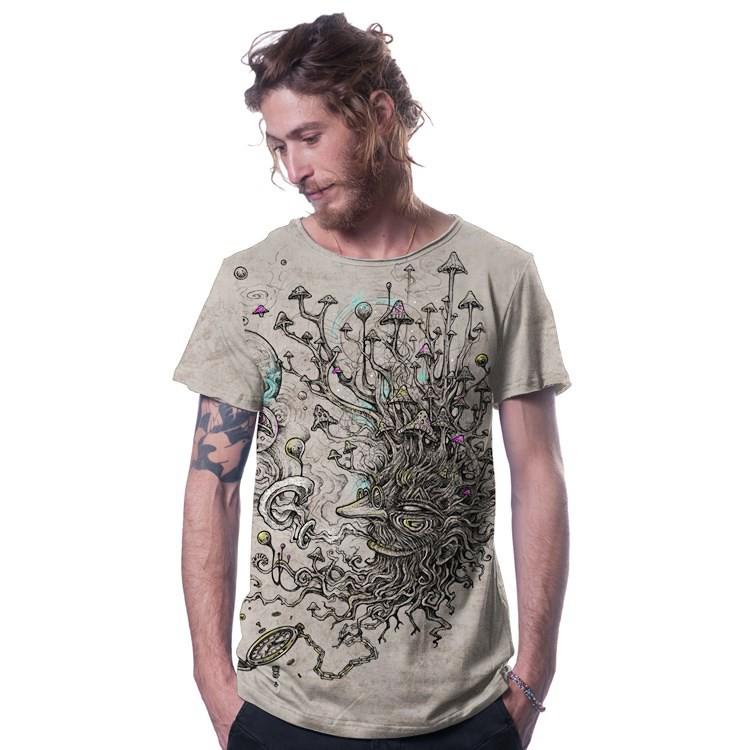 """Camiseta """"Shroombeard"""", Beige jaspeado"""