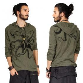 """Camiseta con capucha """"Octopus"""", Verde caqui"""