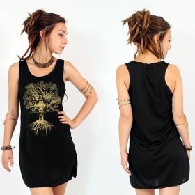 "Vestido ""Jivana"", Negro y oro"