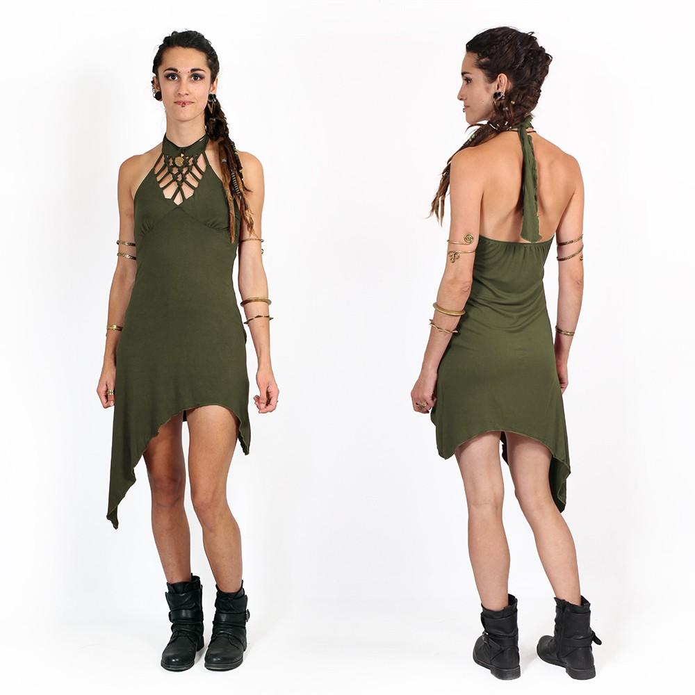 "Vestido túnica ""Akanksha"", Verde oliva"
