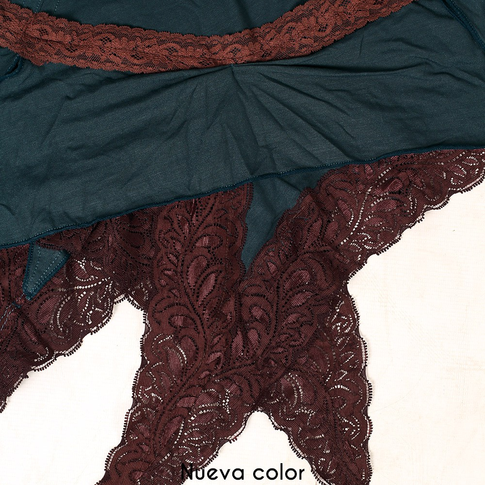 "Vestido ""Nehelenia"", Azul petróleo con encaje marrón"