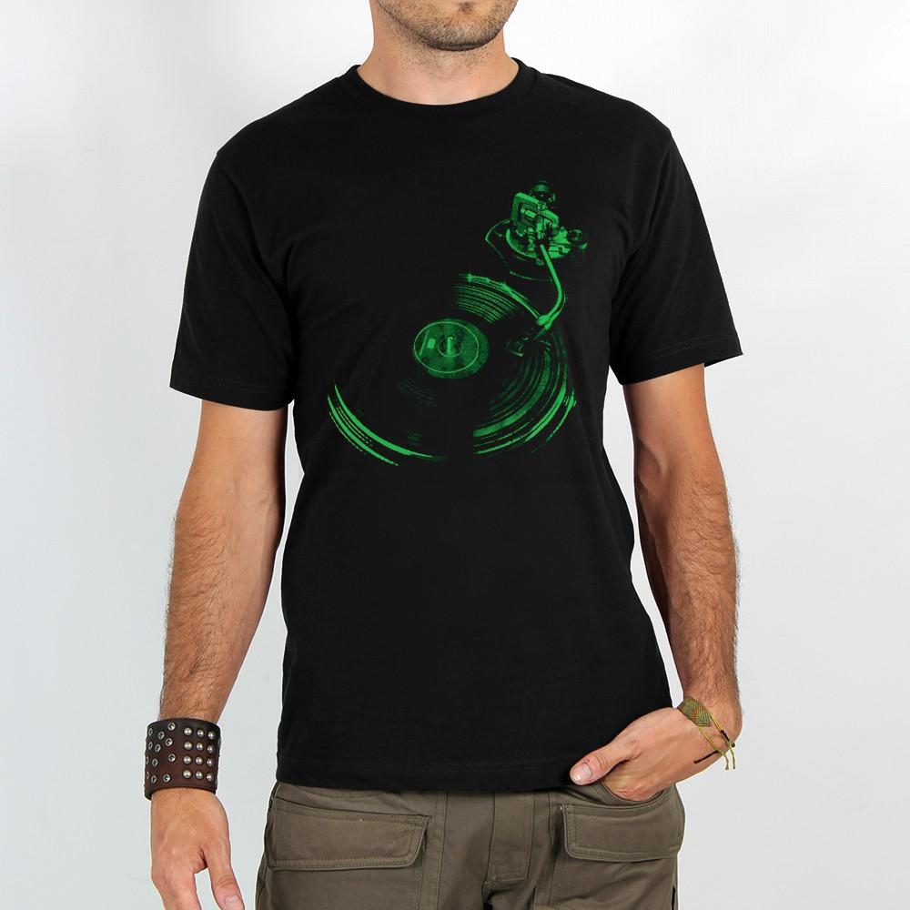 """Camiseta """"Play record"""", Negro y verde"""