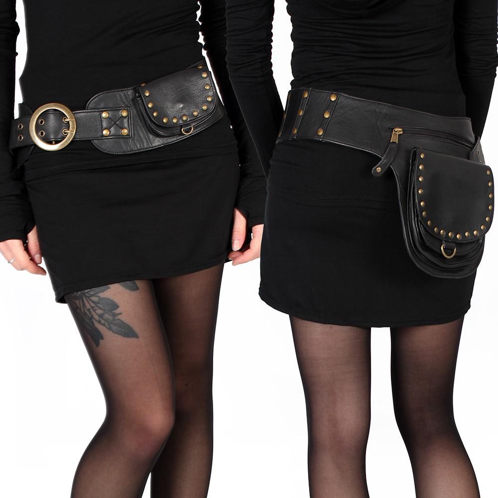 """Cintura con bolsillo """"Ishtar"""", Cuero negro"""