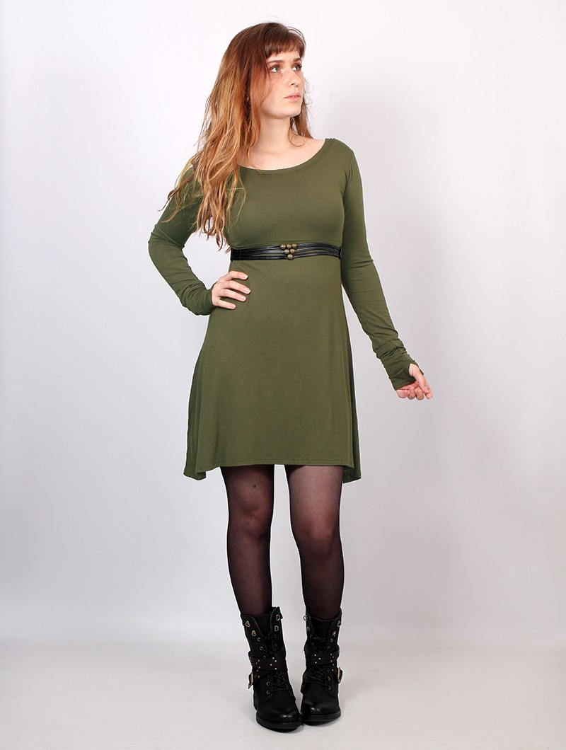 "Vestido de manga larga ""Ysïaa"", Verde caqui"