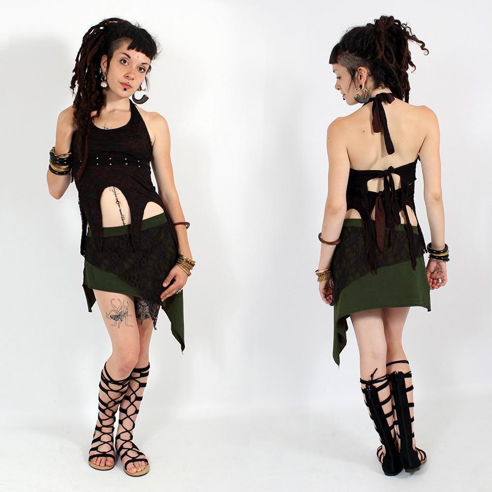 """Falda """"Saravana"""", Verde caqui y negra"""