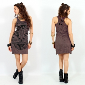 "Vestido ""Tribal tattoo face"", Taupe"