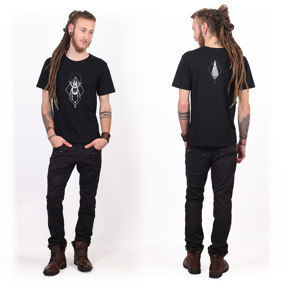 "Camiseta ""Scarab Spirit"", Negro y plateado"