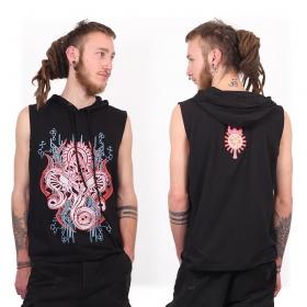 "Camiseta sin mangas con capucha ""Molecules Cyber Ganesh"", Negro"