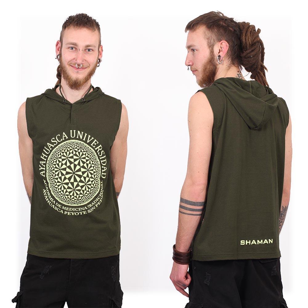 """Camiseta sin mangas con capucha """"Ayahuasca"""", Verde caqui"""