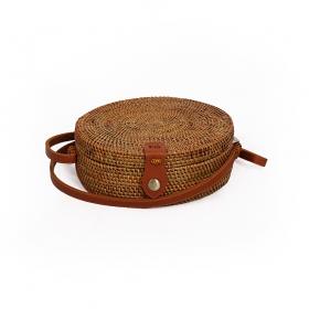 """Pequeña bolsa de ratán """"Akela"""", Cuero marrón"""