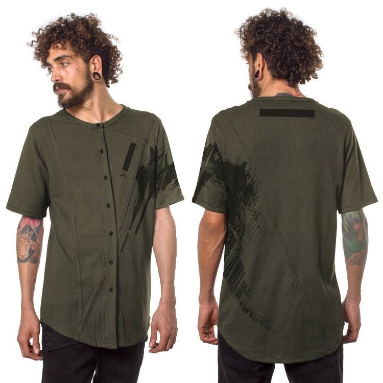"""Camiseta con botones """"Uneven"""", Caqui verde"""