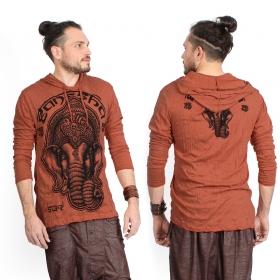 "Camiseta con capucha ""Ganesh Face"", Naranja"