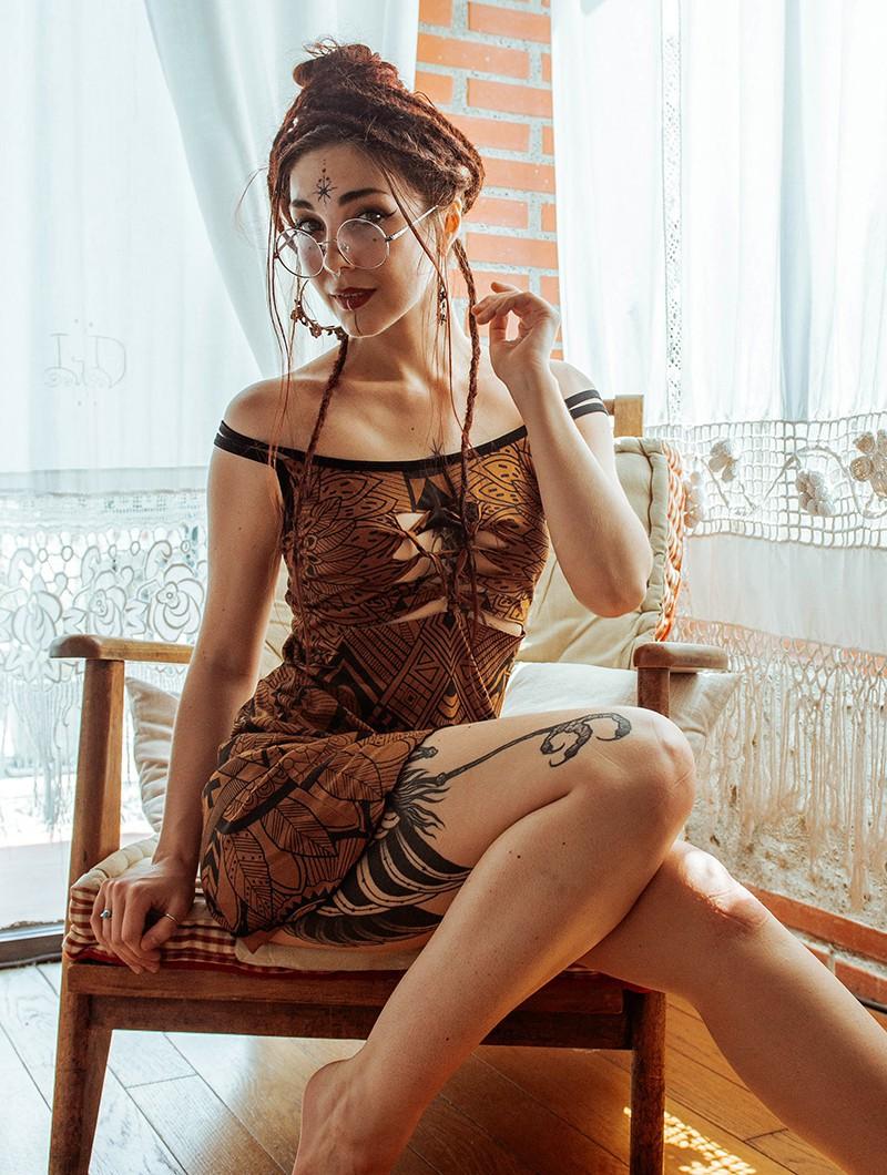 """Vestido """"Electra Africa"""", Marrón dorado"""