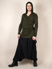 """Camiseta de manga larga con capucha """"Samuraï"""", Verde caqui"""