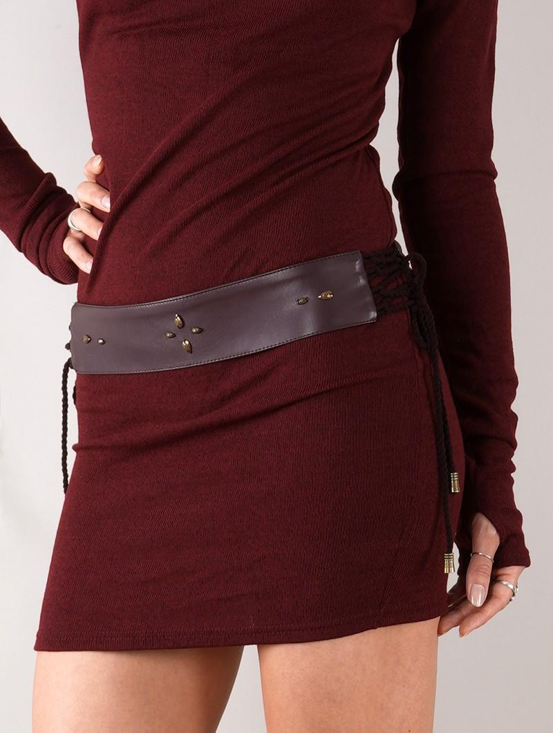 """Cintura de cuero sintético con tachuelas """"Oleyäa"""", Marrón"""