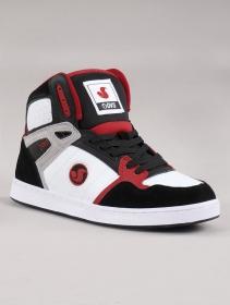 Zapatillas de skate DVS Honcho, Cuero negro, blanco y rojo