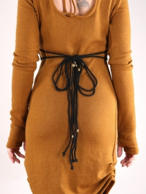 """Cintura """"Kazöo"""", Cuero sintético negro y perlas doradas"""