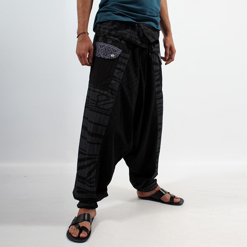 \'\'Tribal Remix\'\' harem pants, Black