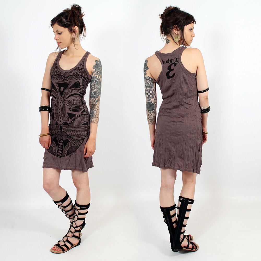 \\\'\\\'Tribal tattoo face\\\'\\\' dress, dark purple