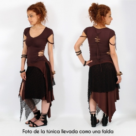 """2en1 Falda/Túnica """"Syrada"""", Marrón con encaje marrón"""