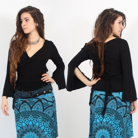 "\""Afiyah\\\"" wrap top, Black"