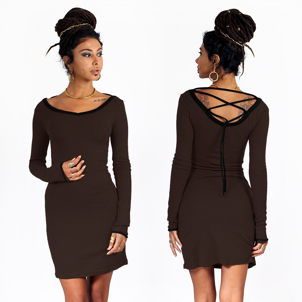 "Anaëly"" dress, Brown and Black"