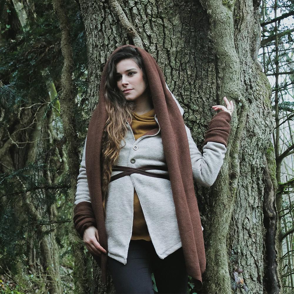 "\""Azmäe\"" lined jacket, Beige and brown"