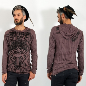 "\""Bali Dragon\\\"" hooded t-shirt, Brown"