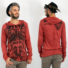 "\""Bali Dragon\\\"" hooded t-shirt, Dark red"
