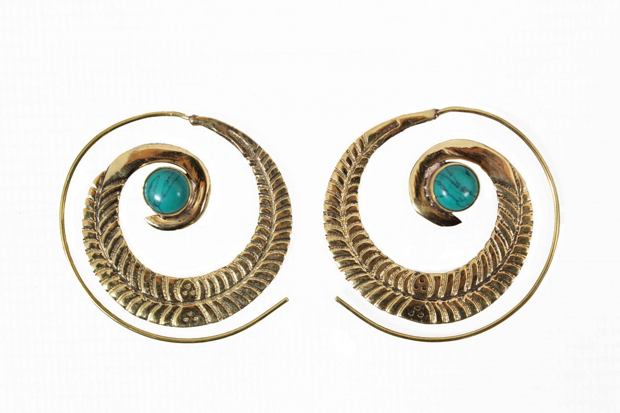 """Bavandar\"" earrings, Turquoise stone"