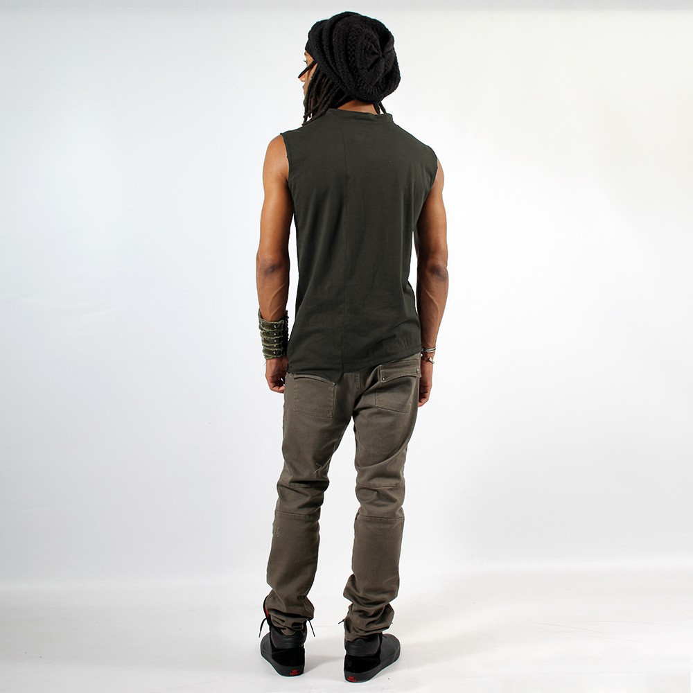 """Blended\"" sleeveless T-shirt, Khaki"
