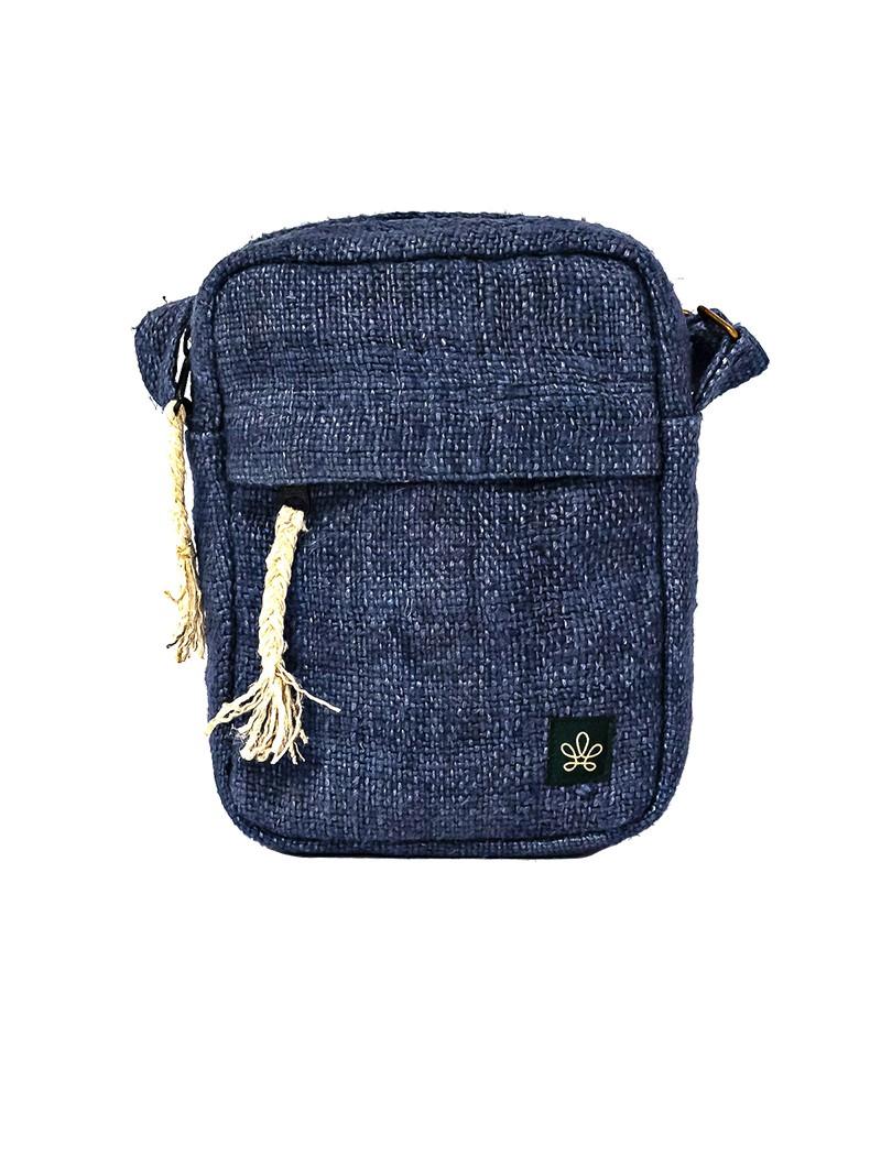 """Bolsa de hombro \""""Tansen\"""", Cáñamo y algodón azul"""