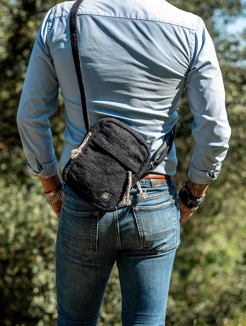 "Bolsa de hombro \""Tansen\"", Cáñamo y algodón negro"