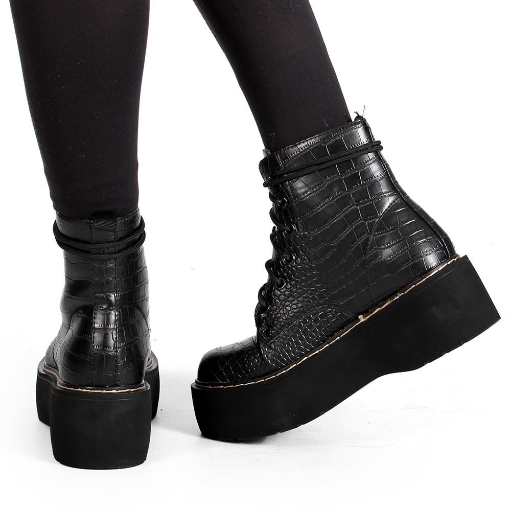 """Botas de plataforma \""""Alannah\"""", Croco negro"""