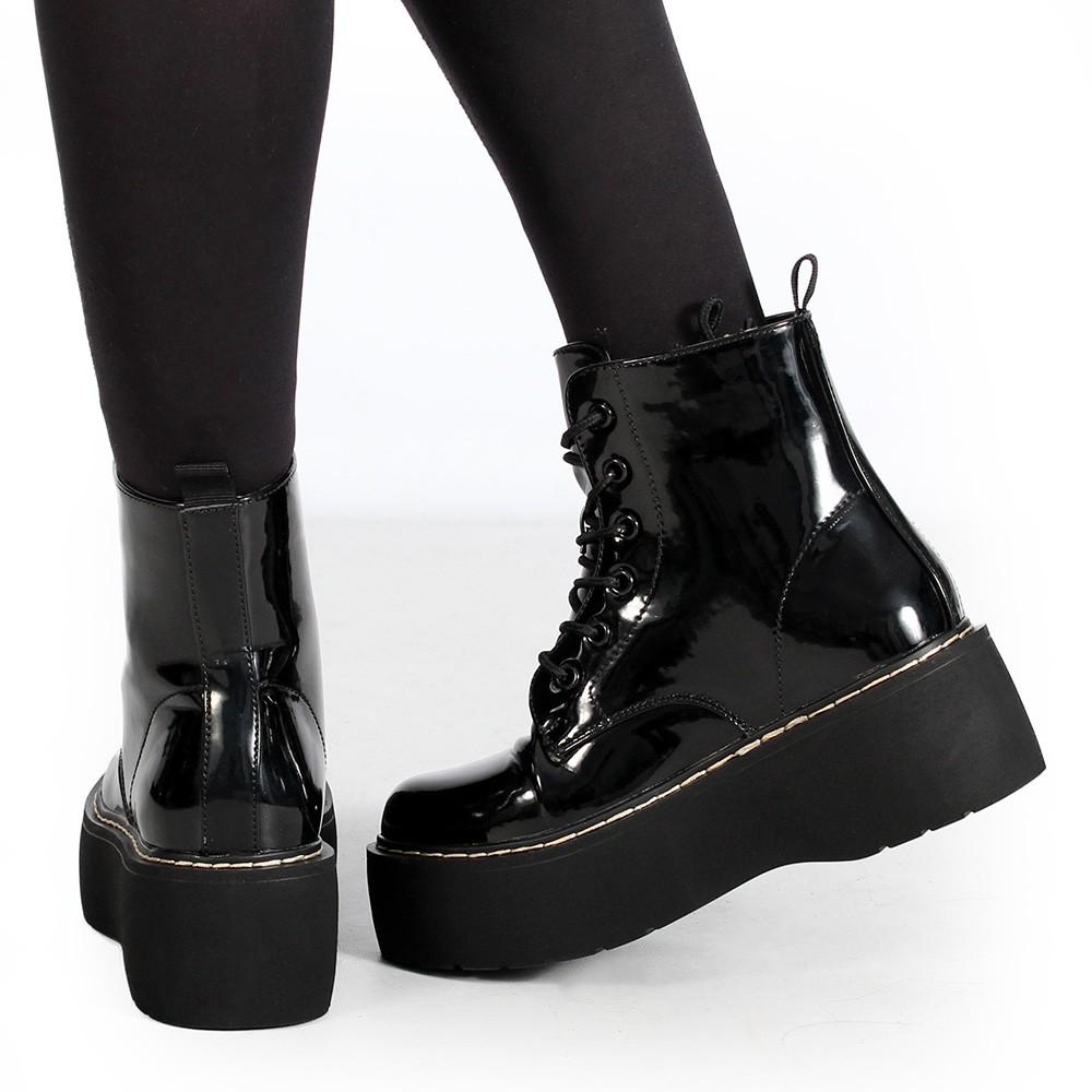 """Botas de plataforma \""""Safwa\"""", Negro brillante"""