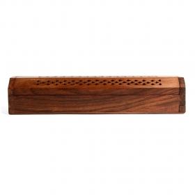 Caja soporte de madera para incienso, 25 cm