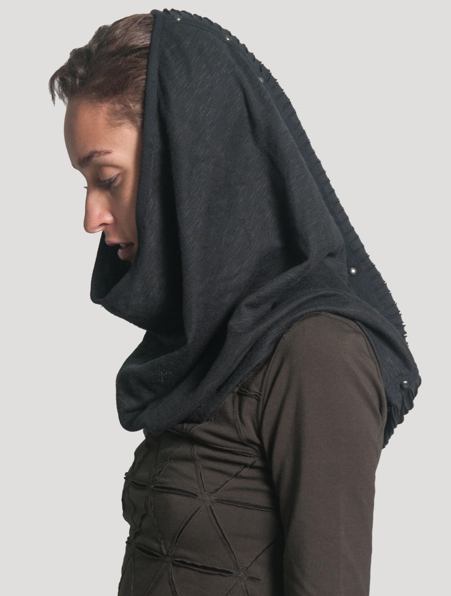 "Calienta cuellos con capucha \""Straps\"", Negro"
