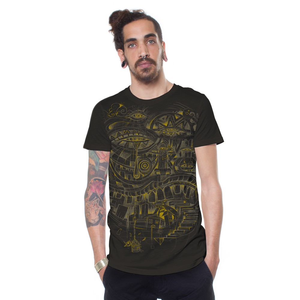 "Camiseta ""City Steps\"", Marrón oscuro"